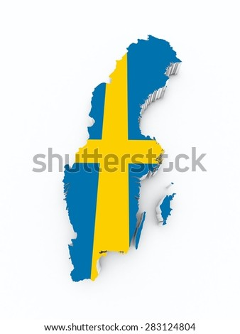 Sweden Flag On D Map Stock Illustration Shutterstock - Sweden map 3d