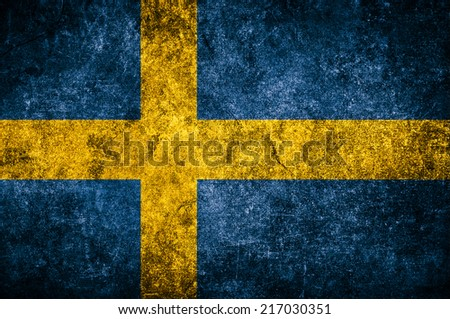 Sweden flag on the grunge concrete wall - stock photo