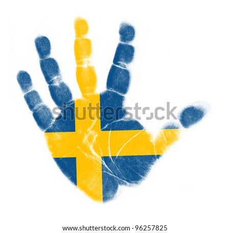 Sweden flag palm print isolated on white background - stock photo