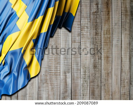 Sweden Flag with vertical wood - stock photo