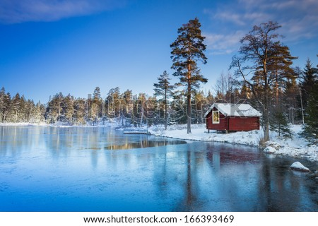 Sweden house winter - stock photo
