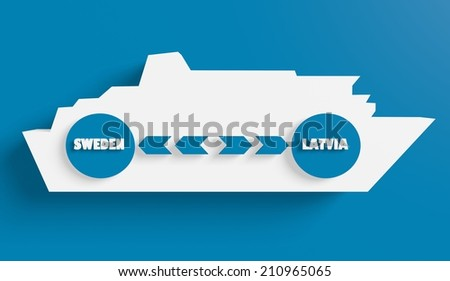 sweden latvia ferry boat route info in icons - stock photo