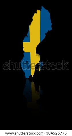 Sweden map flag with reflection illustration - stock photo