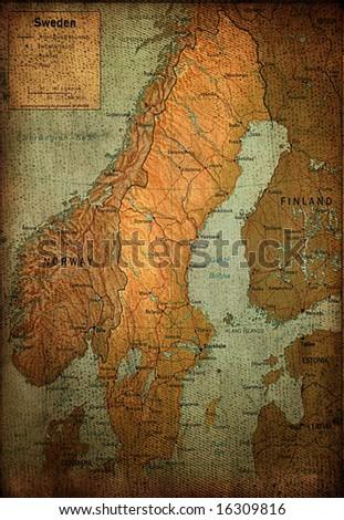 Sweden map on vintage paper - stock photo