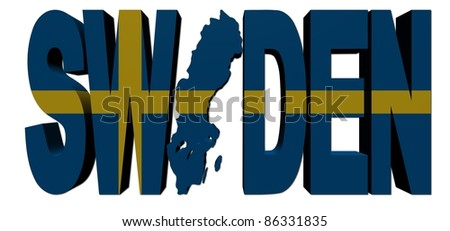 Sweden map text with flag illustration