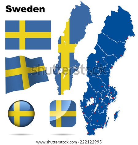 Sweden set. Detailed country shape with region borders, flags and icons isolated on white background. - stock photo