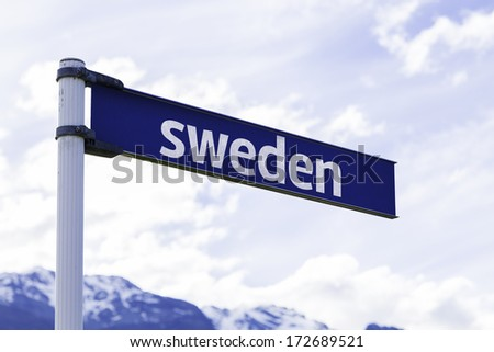 Sweden sign with mountains and clouds as the background - stock photo