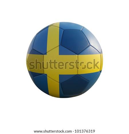 sweden soccer ball isolated on white - stock photo