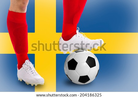 Sweden soccer player with football for competition in Match game.