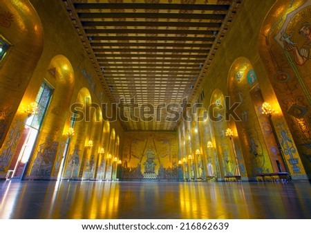Sweden, Stockholm, Kungsholmen, City Hall, the Golden Room - stock photo