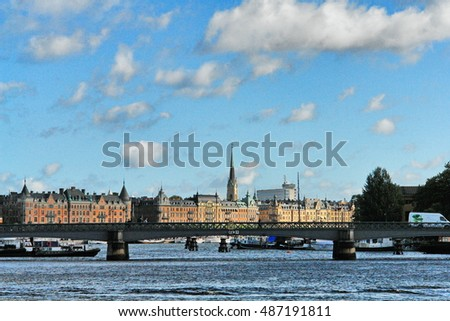 Sweden, Stockholm. Water, ships and architecture.