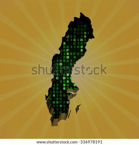 Sweden sunburst map with hex code illustration - stock photo