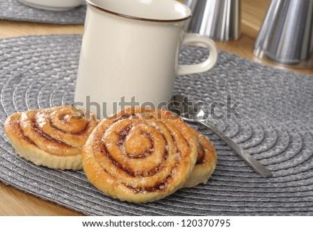 Swedish cinnamon rolls or kanelbullar - stock photo