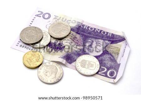 Swedish currency and coins closeup - stock photo