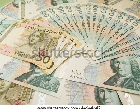 Swedish currency SEK from Sweden useful as a background - stock photo