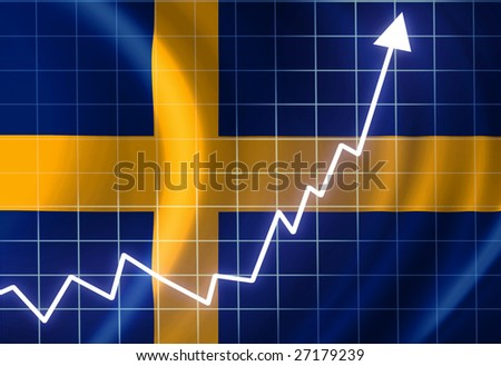 Swedish flag waving in the wind: growth - stock photo