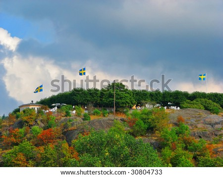Swedish flags on the hill in Stockholm