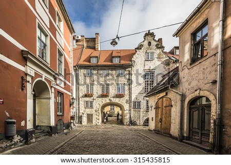 Swedish Gate in the old city of Riga, Latvia - stock photo