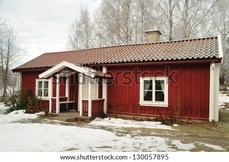 Swedish house in winter.