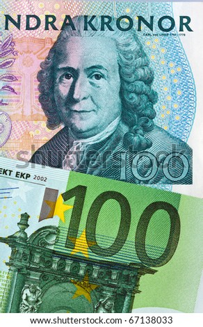 Swedish krona, the currency of Sweden. European and Euro banknotes