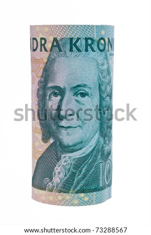Swedish krona, the currency of Sweden. On white background - stock photo