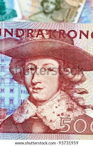 swedish krona, the currency of sweden. several bills.
