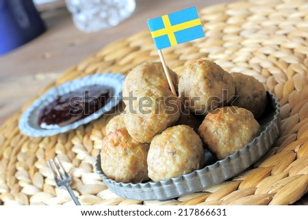 Swedish meatballs with berry sauce - stock photo