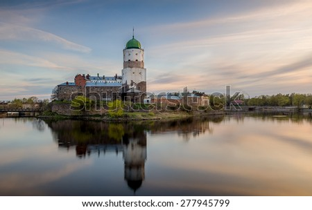 Swedish medieval fortress and Saint Olav tower of 13th century. Now is in Russia near the Finland borders. - stock photo