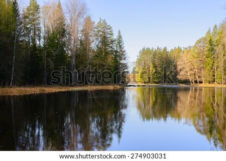 Swedish natural salmon area in spring. Farnebofjarden national park - stock photo