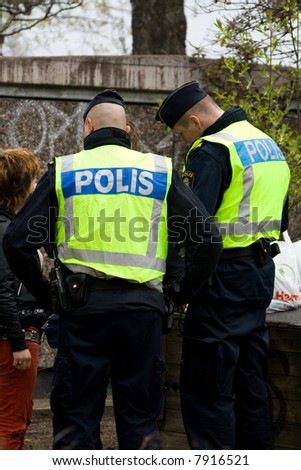 Swedish police making a bust