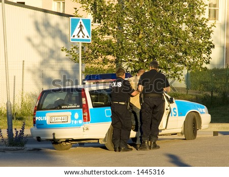 Swedish police officer making an arrest