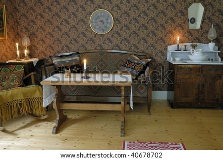 Swedish vintage home interior. - stock photo