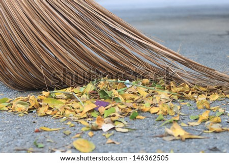 Sweep garbage in thailand - stock photo