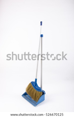 sweeping cleaner broom tool for housework on white