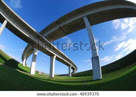 Sweeping South Florida expressways. - stock photo