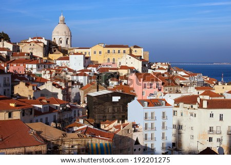 Sweeping view over Alfama district in the city of Lisbon in Portugal. - stock photo