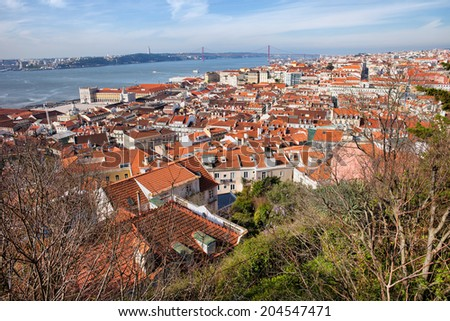 Sweeping view over the city of Lisbon in Portugal. - stock photo