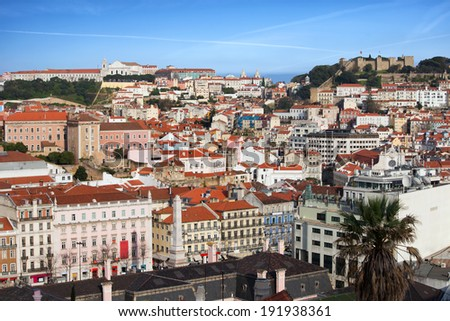 Sweeping view over the old city of Lisbon in Portugal. - stock photo