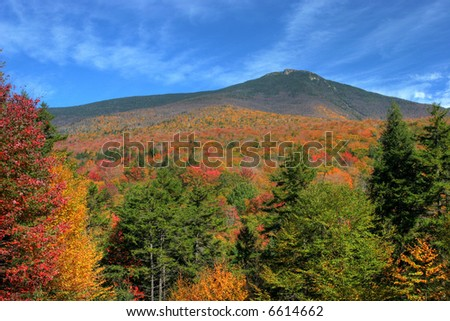 Sweeping vista of fall colors in New Hampshire - stock photo
