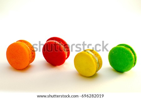 Sweet and colorful macaron on white background