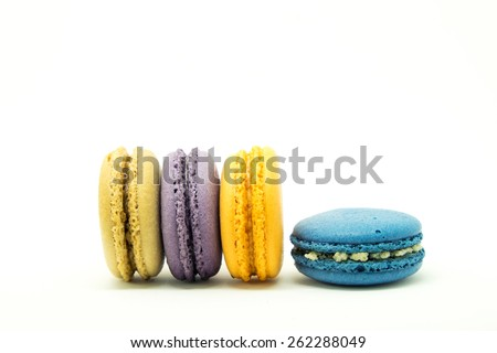 Sweet and colorful macaroons or macaron on white background, Dessert - stock photo