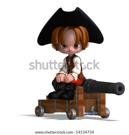 sweet and funny cartoon pirate with hat. 3D rendering with clipping path and shadow over white - stock photo