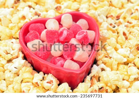sweet and gummy Valentine candy in popcorn bowl