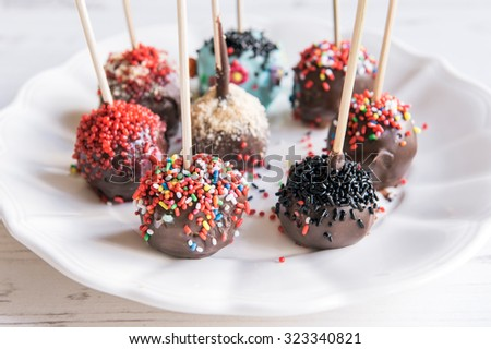 Sweet and homemade chocolate cake pops,selective focus - stock photo