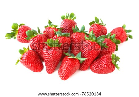 Sweet and juicy strawberries isolated on white background. - stock photo