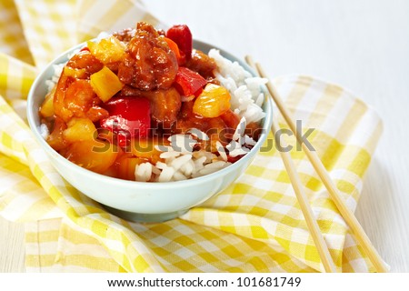 Sweet and Sour Chicken on Rice - stock photo