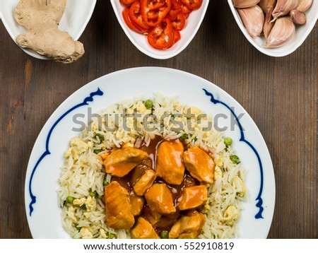 Sweet and Sour Chicken With Egg Fried Rice Chinese Meal