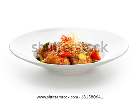 Sweet and Sour Pork with Vegetables - stock photo