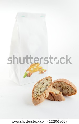 sweet and tasty cantuccini on white background