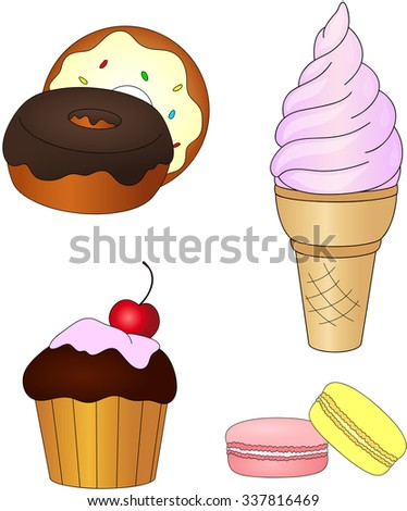 Sweet and tasty ice cream, cake with cherry, donuts with glaze and macaroons. illustration